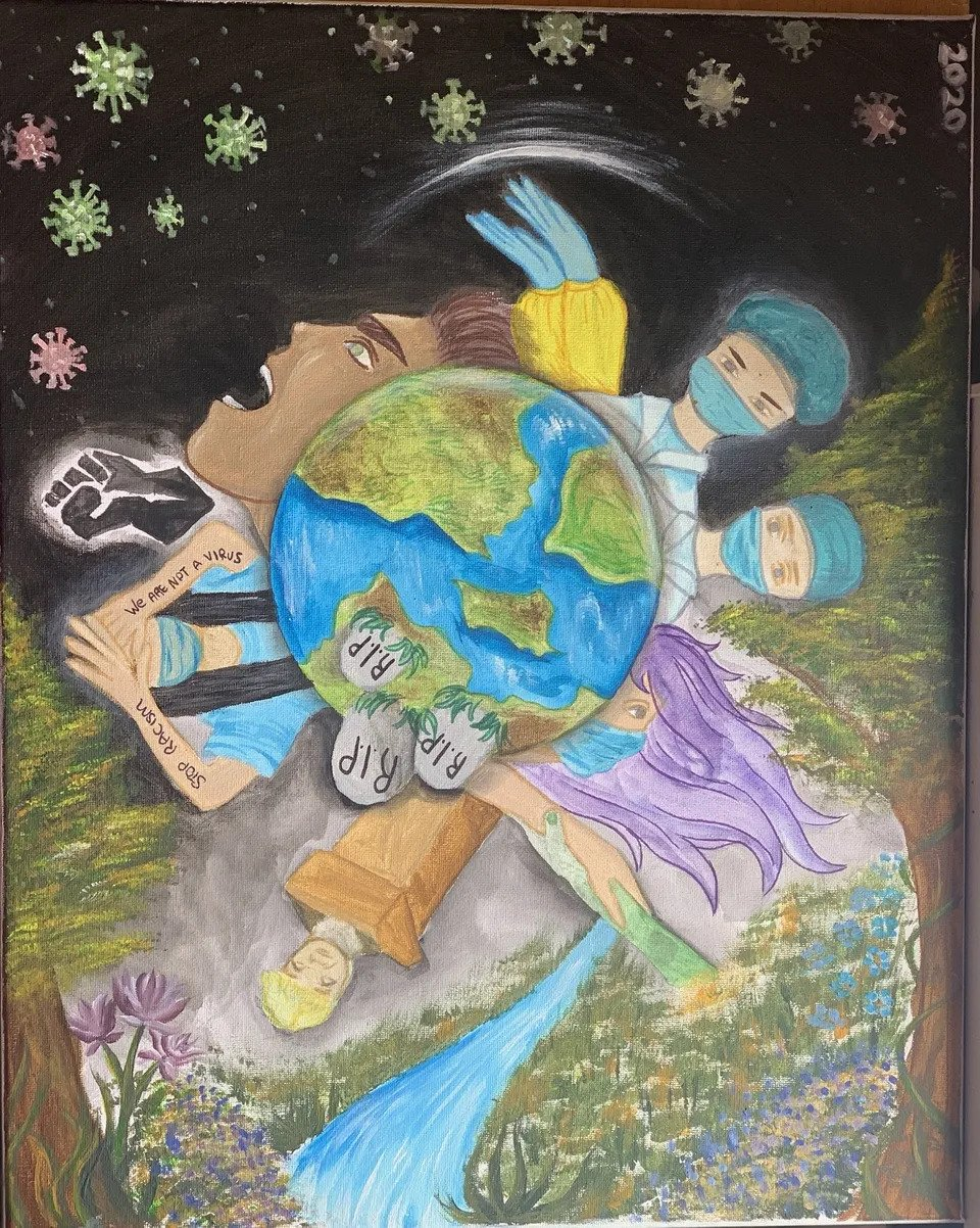 Qahramany Semin's artwork shows the world in the centre with three gravestones marked RIP. It is surrounded by various figures, including two masked doctos, a BLM symbol, and COVID-19 viruses floating like stars in a dark sky.