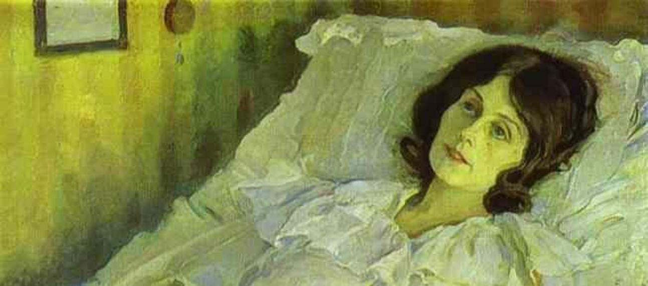 Painting of 'A Sick Girl' by Mikhail Nesterov (1928)