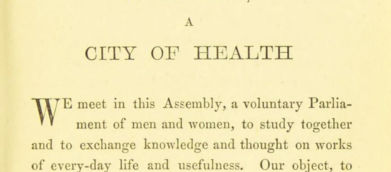 First page from the book of Hygenia A City of Health