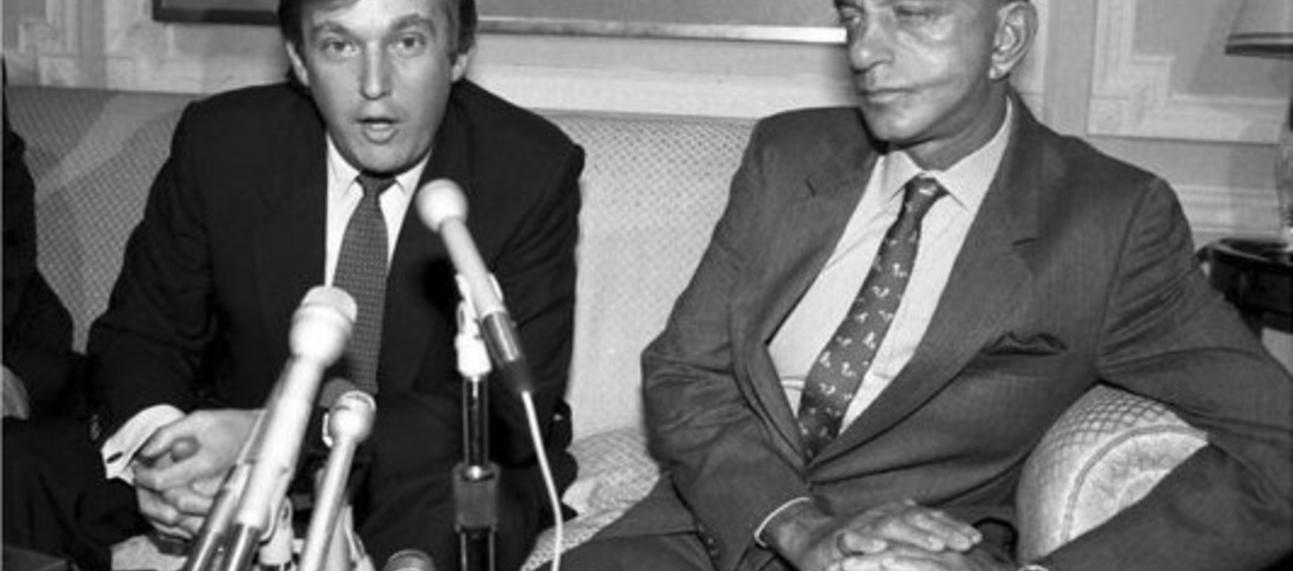 Black and white image of Trump and Cohn