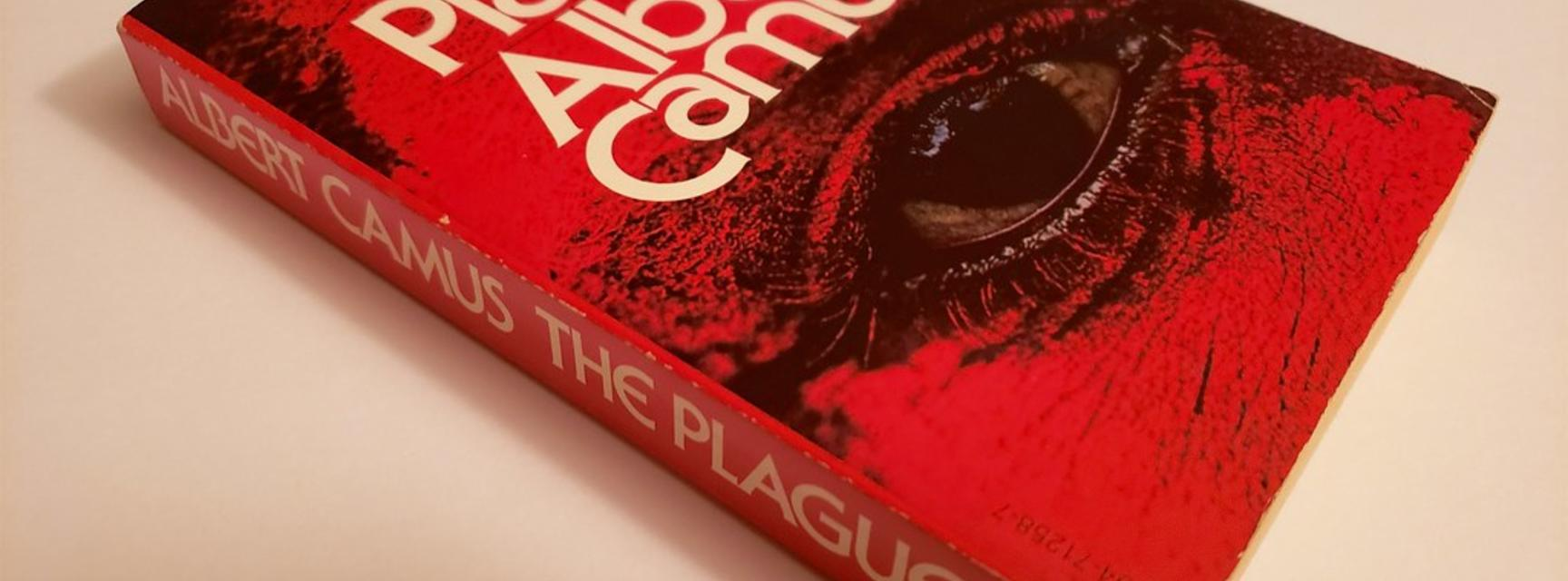 Image of Albert Camus's book entitled The Plague. The cover is red with a large eye.