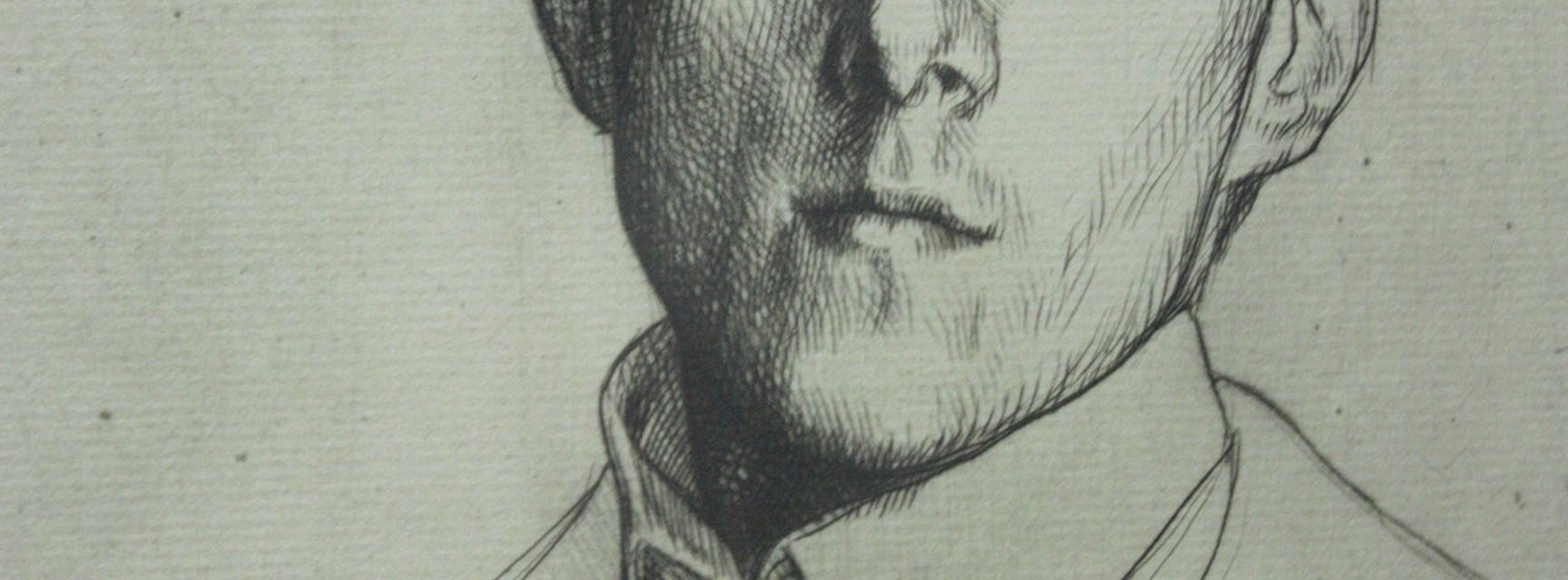 Drypoint portrait of Laurence Binyon by William Strang (1898)