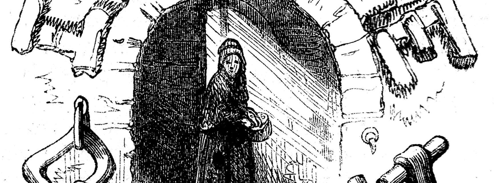 Engraving of Little Dorrit in the entrance to a tunnel
