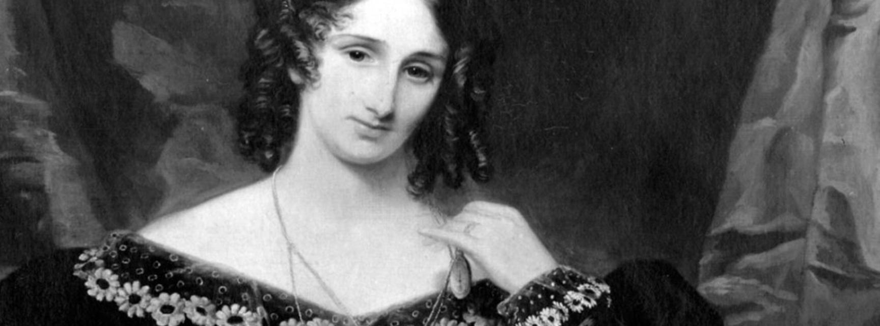 Black and white painted portrait of Mary Shelley