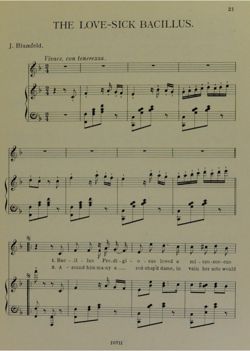 First page of sheet music for 'The lovesick Bacillus' song